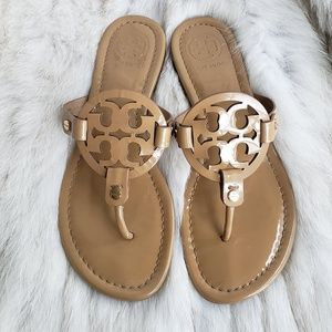 Tory Burch Sand Patent Tan Miller Sandal Size 7.5M